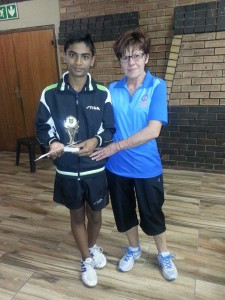 Yukail Naidoo 13Yrs Winner Boys Singles U13 & U15 and U18 Runner Up